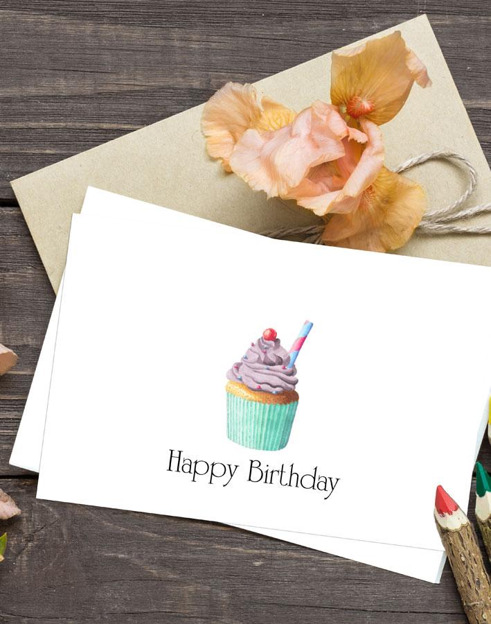 Cupcake Birthday Cards - Free Printable - Kleinworth  Co