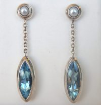 Blue Topaz Dangle Earrings Bodyjewelrylive Images Postearr