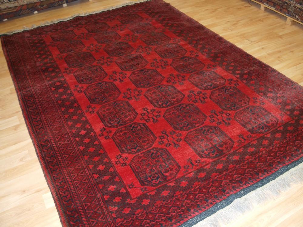 Old Afghan Village Rug With Traditional Ersari Gul Design