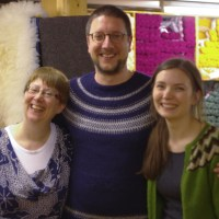 Sandra, Tom and Ella after Tom's amazing darning masterclass