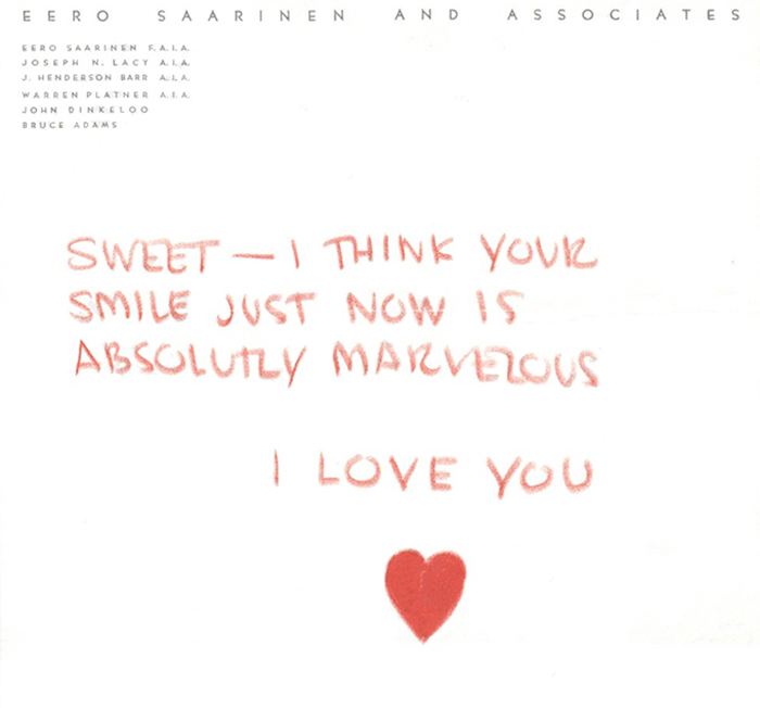 Love  Architecture Aline and Eero Saarinen Knoll Inspiration - love letters