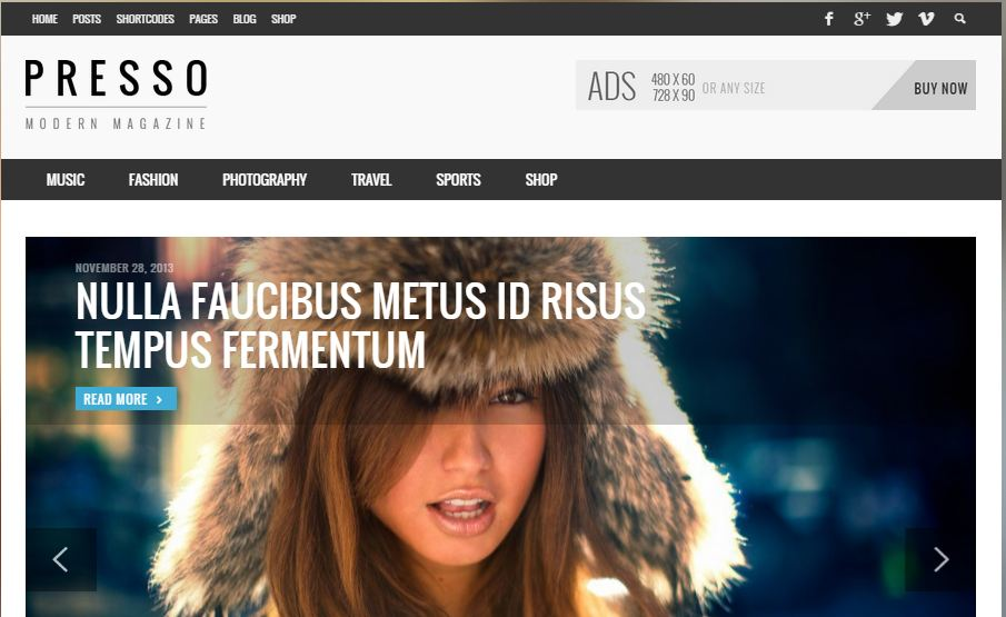 Presso WordPress Magazine themes