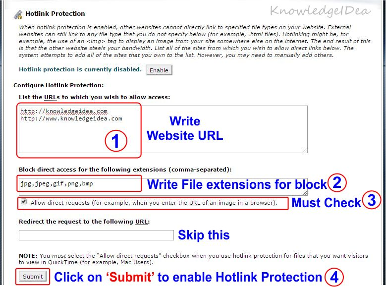 How to Enable Hotlink Protection in HostGator cPanel step 2