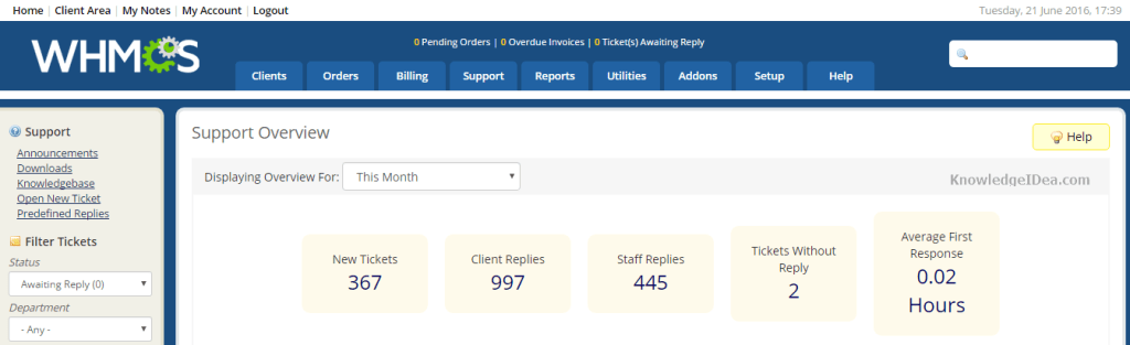 WHMCS Features Review in Detail Ticket Support Section