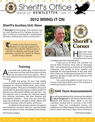 Pickens Sheriff\u0027s Office January Newsletter