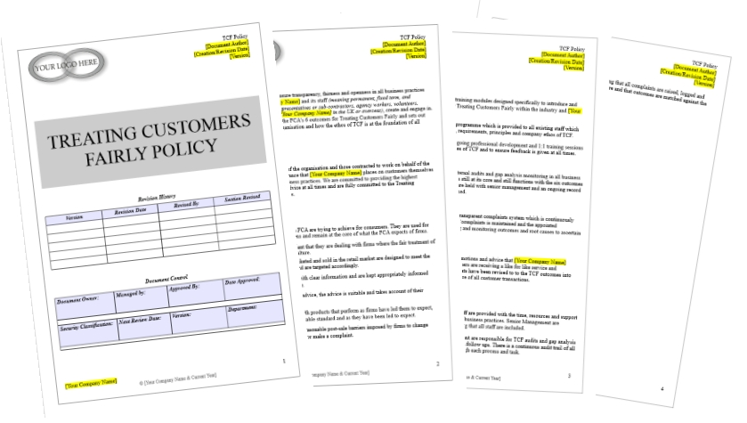 Treating Customers Fairly Policy Template - Know Your Compliance - compliance manual template