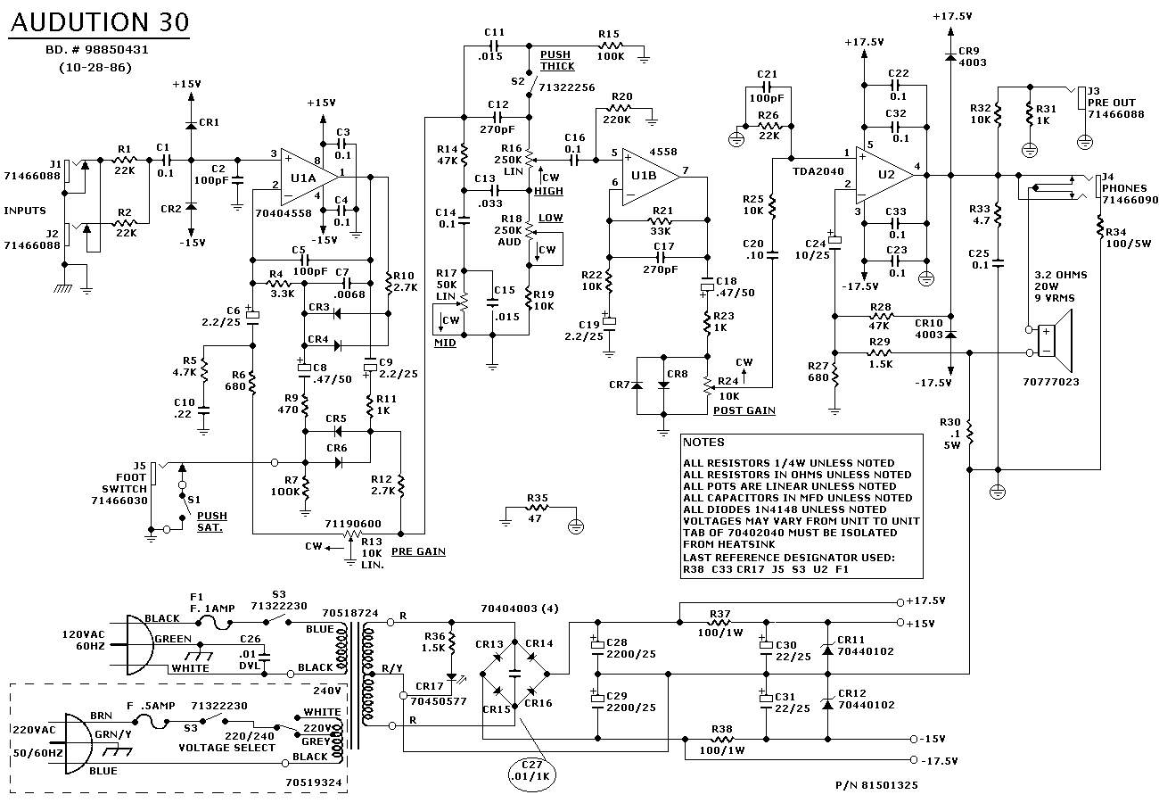 peavey power amp circuit diagram