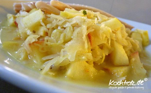 Apfel-Sauerkraut für die Mikrowelle