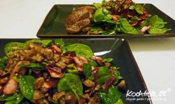 Salat mit Babyblattspinat, Roter Bete, Champignons und Maronen