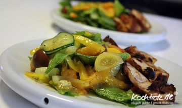 Salat mit gebratenen Vanille-Aprikosen