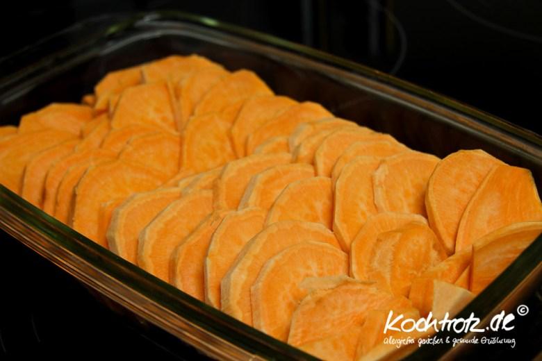 Süßkartoffel-Gratin, histaminarm, fruktosearm, sorbitfrei, laktosefrei, glutenfrei