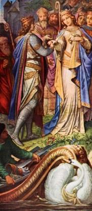 Lohengrins Rückfahrt: Lohengrin wird vom Schwan zurück gebracht. Elsa hatte neugierig nach Lohengrins Herkunft gefragt, was Lohengrin zur Rückreise zwingt.