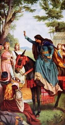 Parzival kommt an den Hof von Artus. Bei einem Fest im Maiengrün beschimpft ihn die Gralsbotin Kundrie wegen der unterlassenen Frage und verflucht ihn.