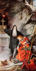 An Gottes Gerechtigkeit zweifelnd führt Parzival ein unstetes Wanderleben. Er kommt zum Einsiedler Trevreszent, der ihn über die Geheimnisse es Grals belehrt. Parzival versöhnt sich und begibt sich erneut auf die Suche nach dem Gral.