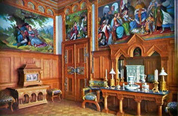 Schloss Neuschwanstein Ankleidezimmer (Toilettenzimmer) von König Ludwig II. - Kolorierte Fotografie