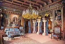 Schloss Neuschwanstein Wohnzimmer von König Ludwig II. (2) - Kolorierte Fotografie