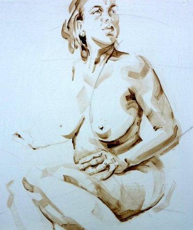 Nude Self 01  Acrylic on wooden panel   70x50 cm   650€