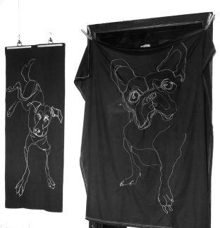 Stitched Drawings on fabric | Dog on sunbed cushion cover 70x180(?)cm 375€ | French bulldog on beachcloth 170x170(?) cm 375€