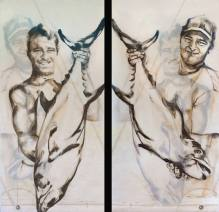 Fisherman Double sided 01 | Acrylic on sailcloth | 90x187 cm |850€