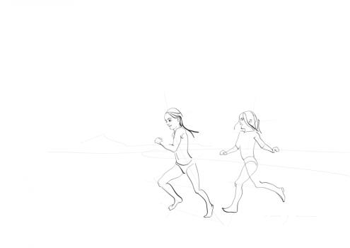 Maxi and Oli Running at Famara beach