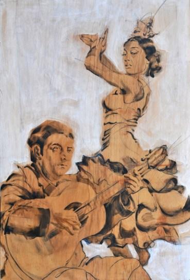 Flamenco Manolo Caracol & Maria Albaicin| Acrylic on wooden Spanish cupboard panel | 120x180(?) cm | 850€