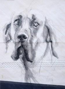 Dog on sail 03 |Acrylic on sailcloth | 50x70 cm | 500€