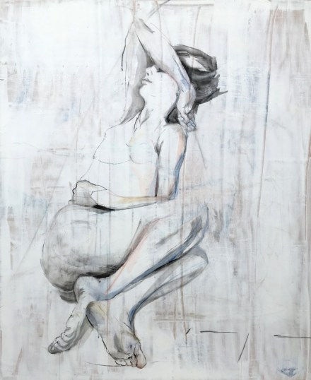 Lying with arm up | charcoal and acrylic on wood | 100x122 cm | 750€