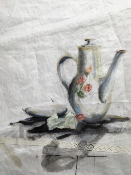 Teapot and tube | oil paint on sail | 50x70 cm | Gallery Guangzhou CN