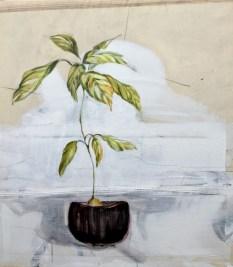 Avodaco plant in black pot | acrylic on sailcloth | 80x90 cm | 1250€