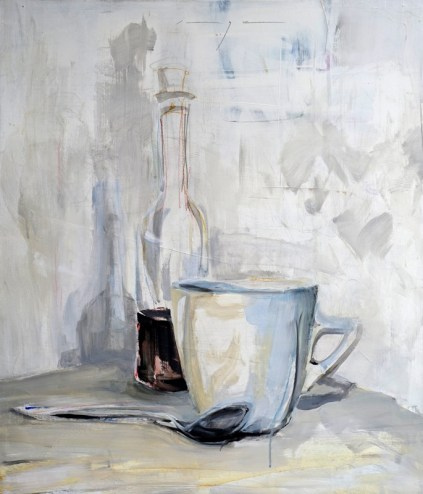 Still life with bottle, cup and tea spoon | Acrylic on wooden panel | 60x70 cm | 1250€