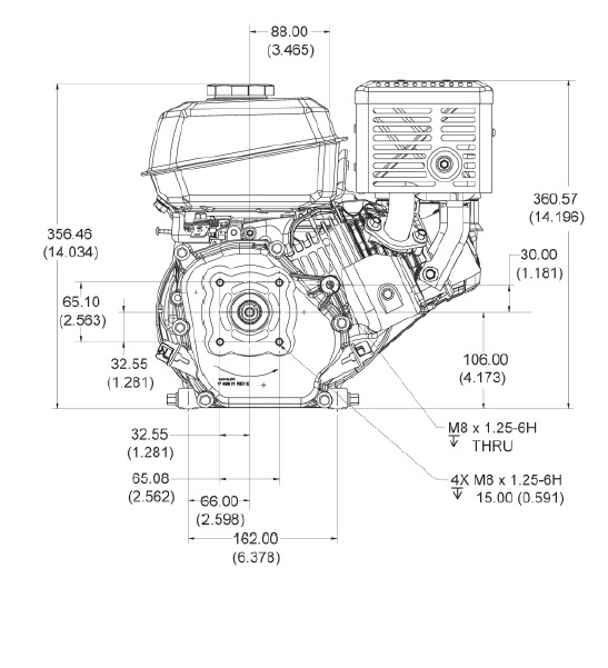 Kohler Engine CH270-3152 7 hp Command Pro 208cc 3/4 in Crankshaft