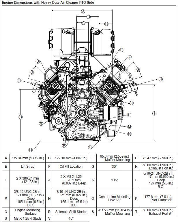 Kohler Engine ECH740-3008 25 hp Command Pro Efi 747cc Hdac 1 7/16