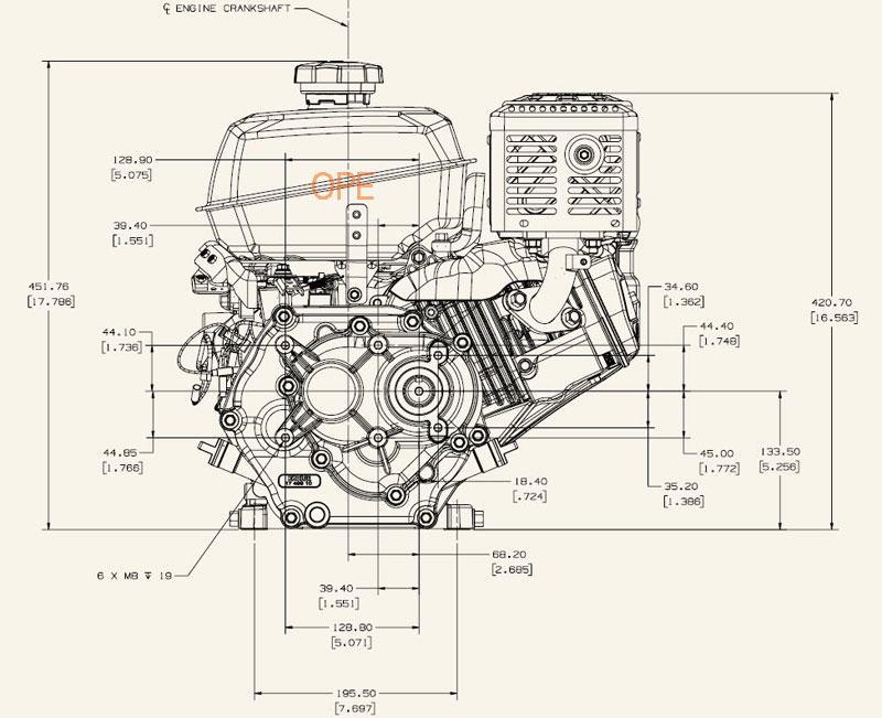 Kohler Engine CH395-3029 95 hp Command Pro 277cc 61 Gear Reduction