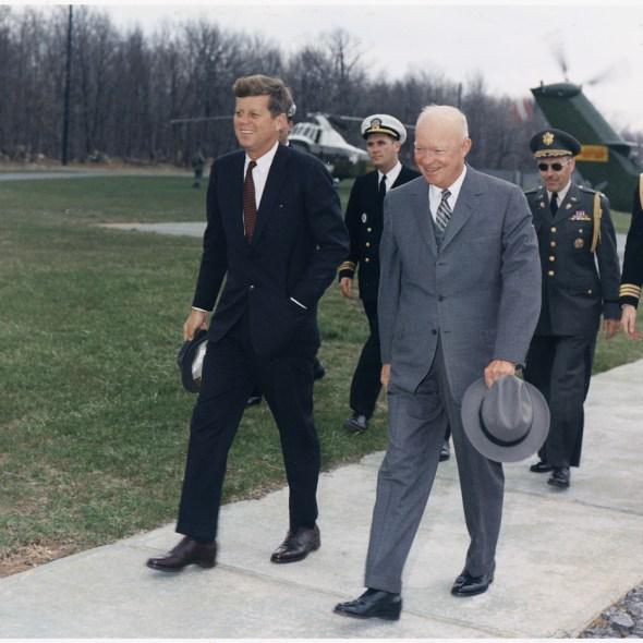 JFK_and_Ike_Camp_David_Maryland_1960