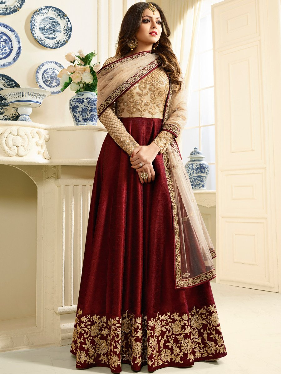 Simple Pakistani Girl Wallpaper Buy Drashti Dhami Maroon Color Silk Party Wear Anarkali
