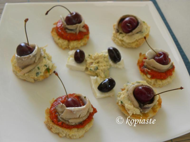 Mezes with pickled cherries