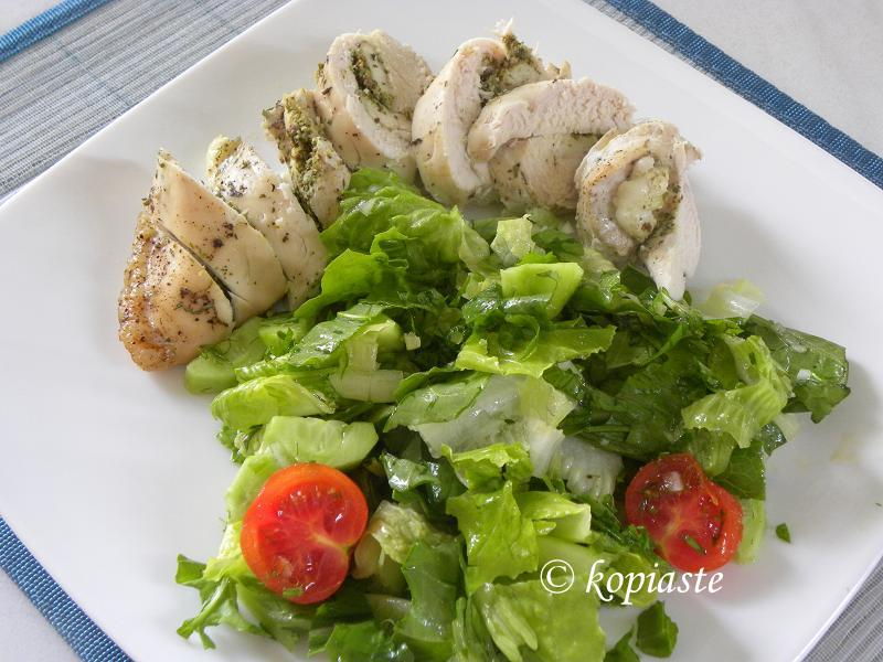 Staffed Chicken breasts and salad