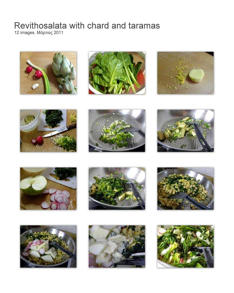 Collage Revithosalata with chard and taramas