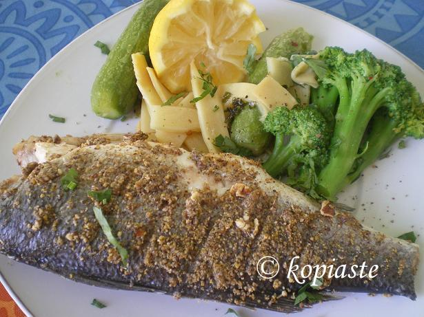Pecan crusted lavraki (sea bass)