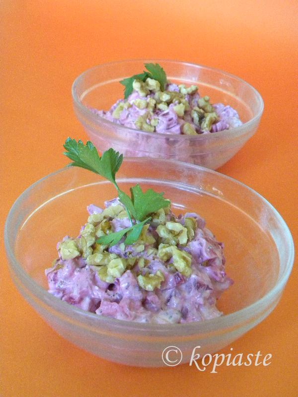 Beetroot Walnut Yoghurt salad