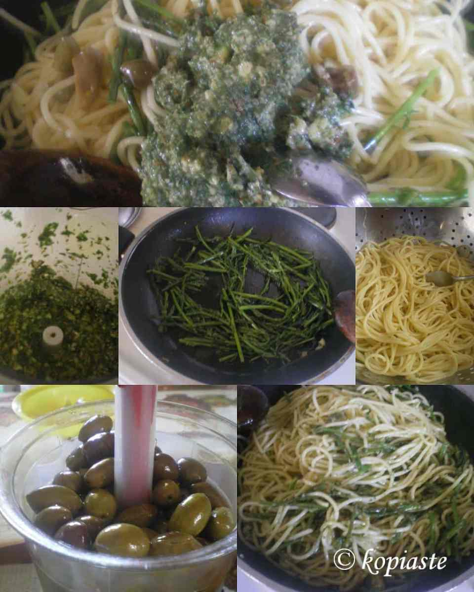 Collage Asparagus Pesto Spaghetti