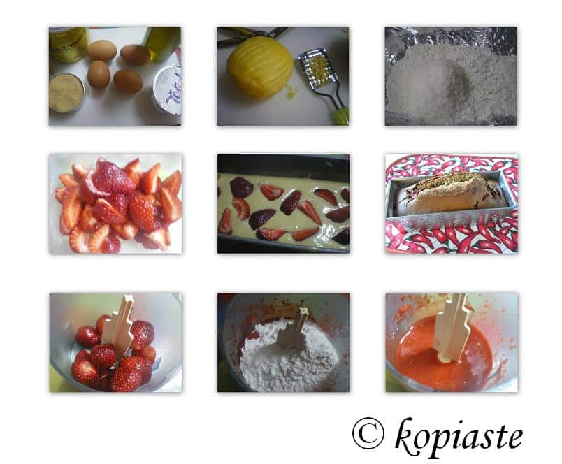 Collage Strawberry Coconut Olive Oil cake