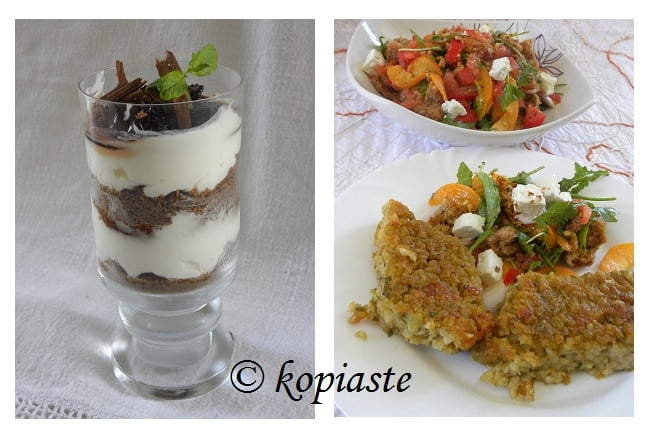 cheesecake, apricot salad and fava-bulgur pie