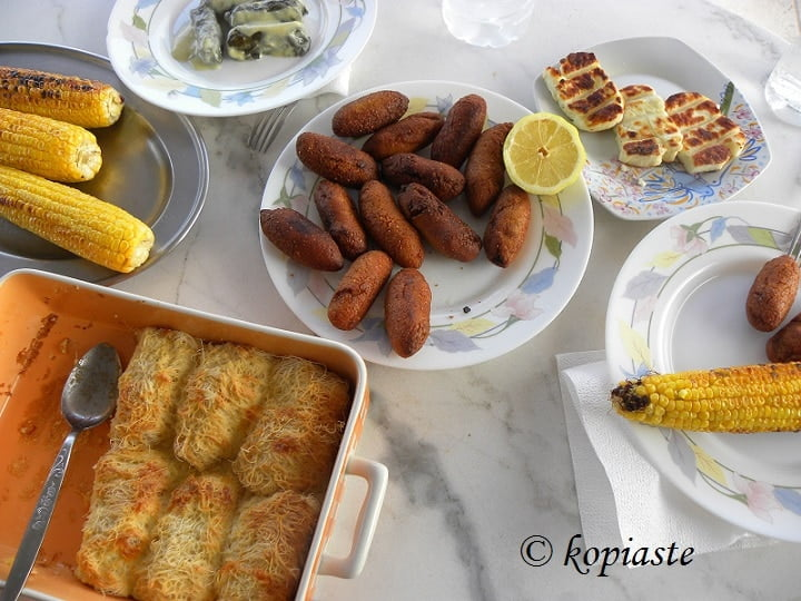 dolmades koupes corn on the cob grilled halloumi