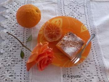 Galatopita with rose and orange