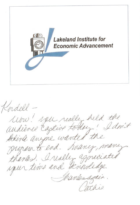 ordell Norton thank you letter from Lakeland College\u0027s Institute for
