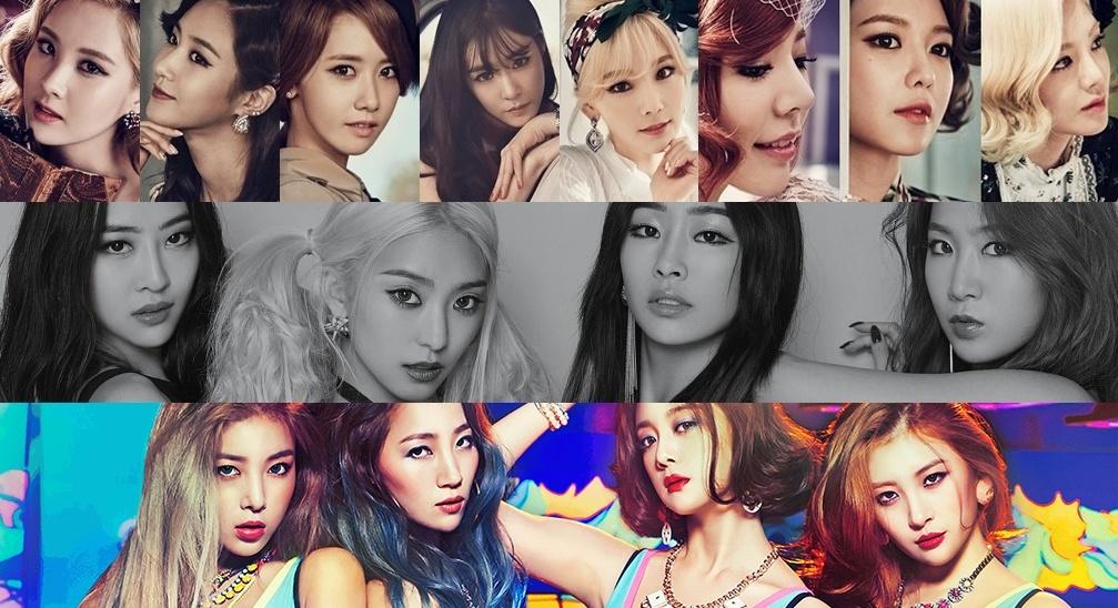 Image: Girls' Generation, SISTAR, Wonder Girls (top to bottom)   SM / Starship / JYP Entertainment
