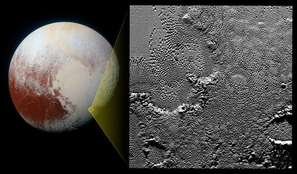 Detaily povrchu Pluta. Foto: NASA/JPL/SwRI