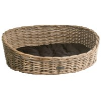 Oval Grey Wicker Dog Basket in 3 Sizes