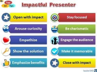 IMPACTFUL Presenter: Top 10 Tip - How To Make a Compelling Presentatioin Charisma Humor Focus Impact